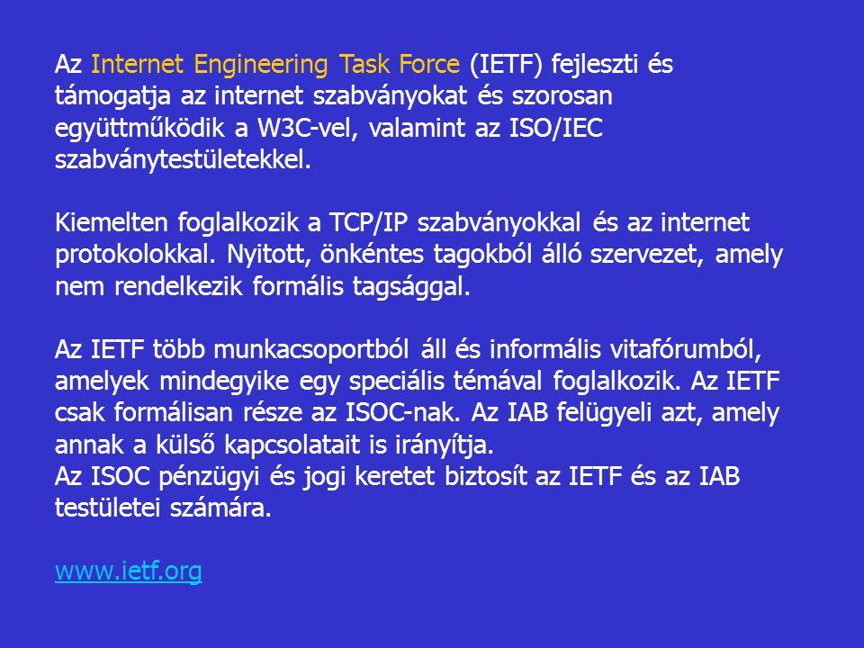 Az Internet Engineering Task Force (IETF) fejleszti és támogatja az internet szabványokat és szorosan együttműködik a W3C-vel, valamint az ISO/IEC szabványtestületekkel.