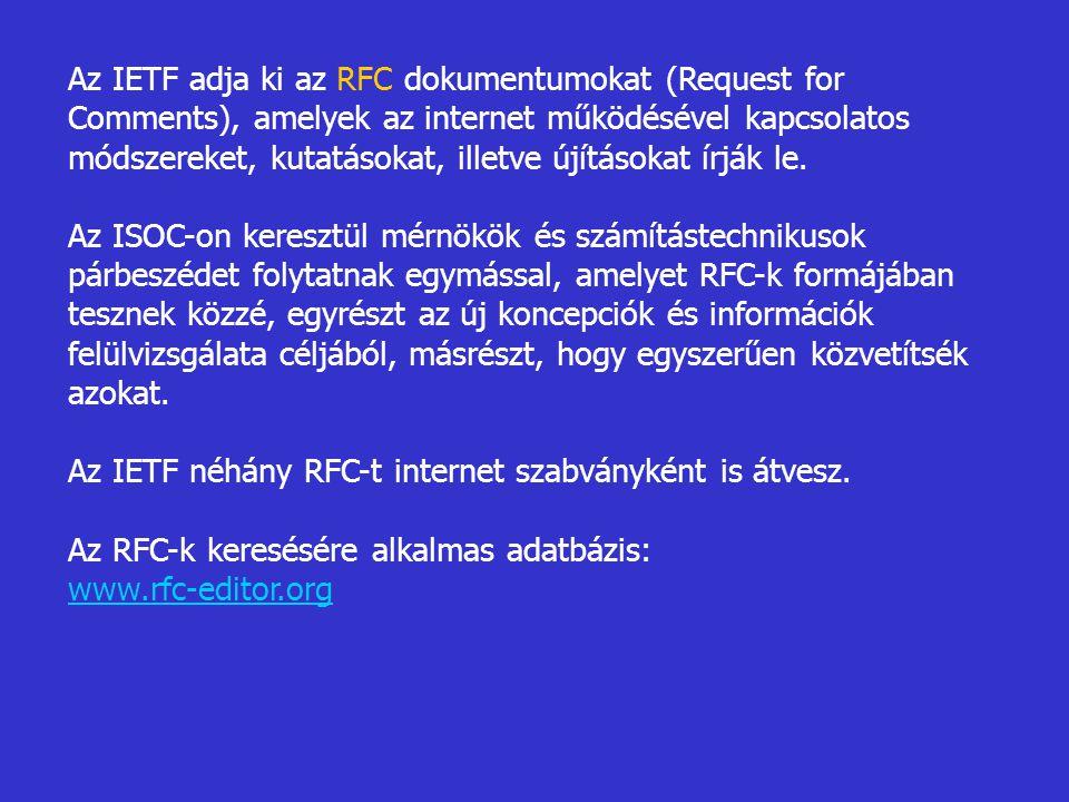 Az IETF adja ki az RFC dokumentumokat (Request for Comments), amelyek az internet működésével kapcsolatos módszereket, kutatásokat, illetve újításokat írják le.