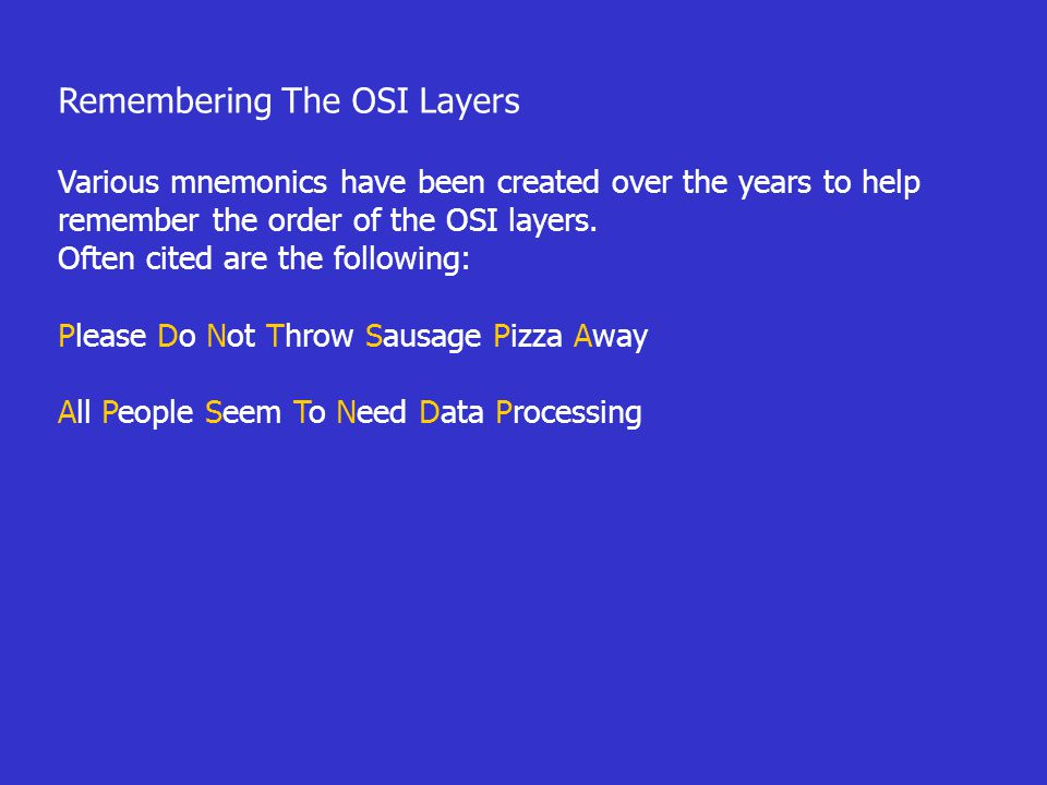 Remembering The OSI Layers