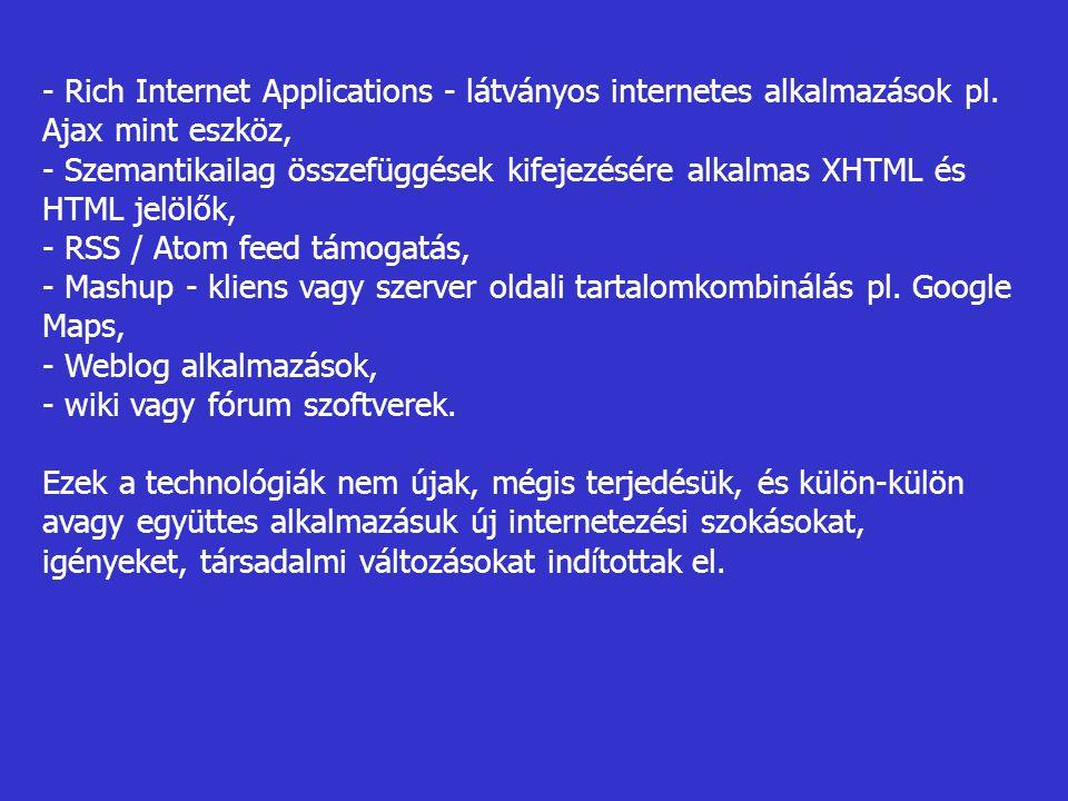 - Rich Internet Applications - látványos internetes alkalmazások pl