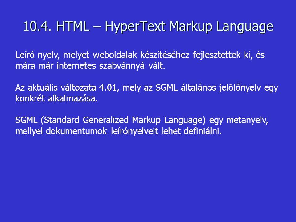 10.4. HTML – HyperText Markup Language