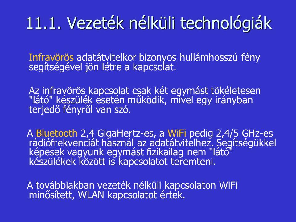 11.1. Vezeték nélküli technológiák