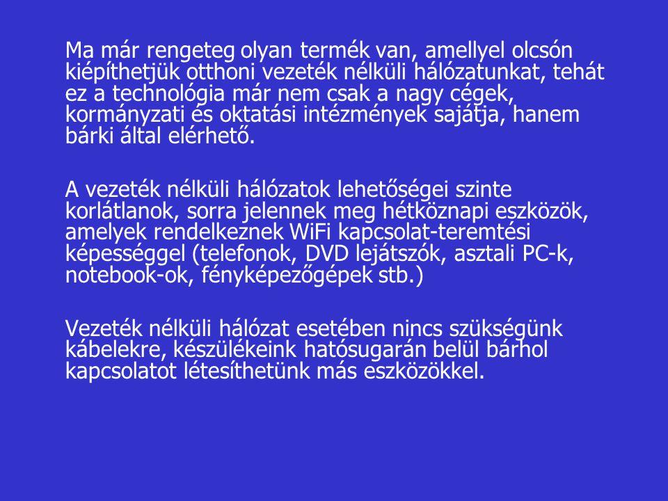 Ma már rengeteg olyan termék van, amellyel olcsón kiépíthetjük otthoni vezeték nélküli hálózatunkat, tehát ez a technológia már nem csak a nagy cégek, kormányzati és oktatási intézmények sajátja, hanem bárki által elérhető.
