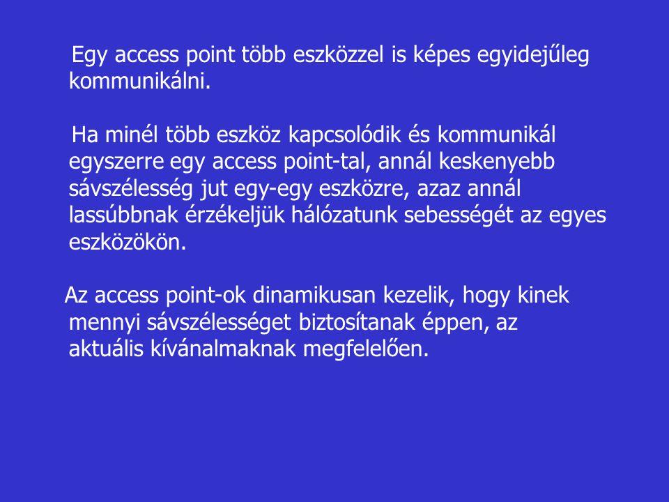 Egy access point több eszközzel is képes egyidejűleg kommunikálni.