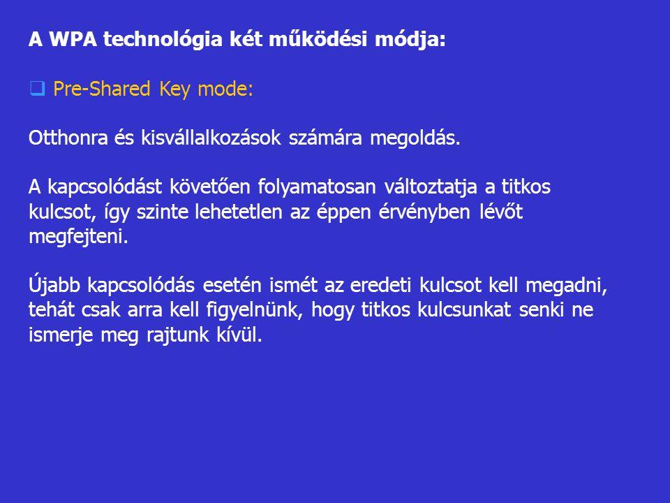A WPA technológia két működési módja: