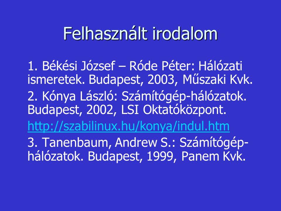 Felhasznált irodalom 1. Békési József – Róde Péter: Hálózati ismeretek. Budapest, 2003, Műszaki Kvk.