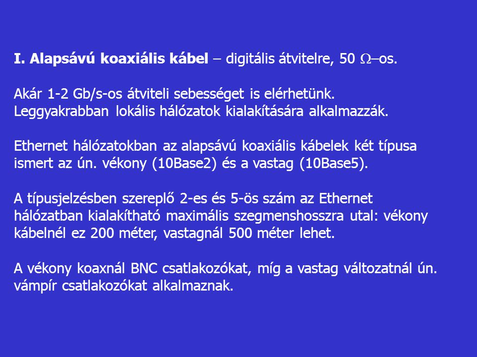 I. Alapsávú koaxiális kábel – digitális átvitelre, 50 –os.