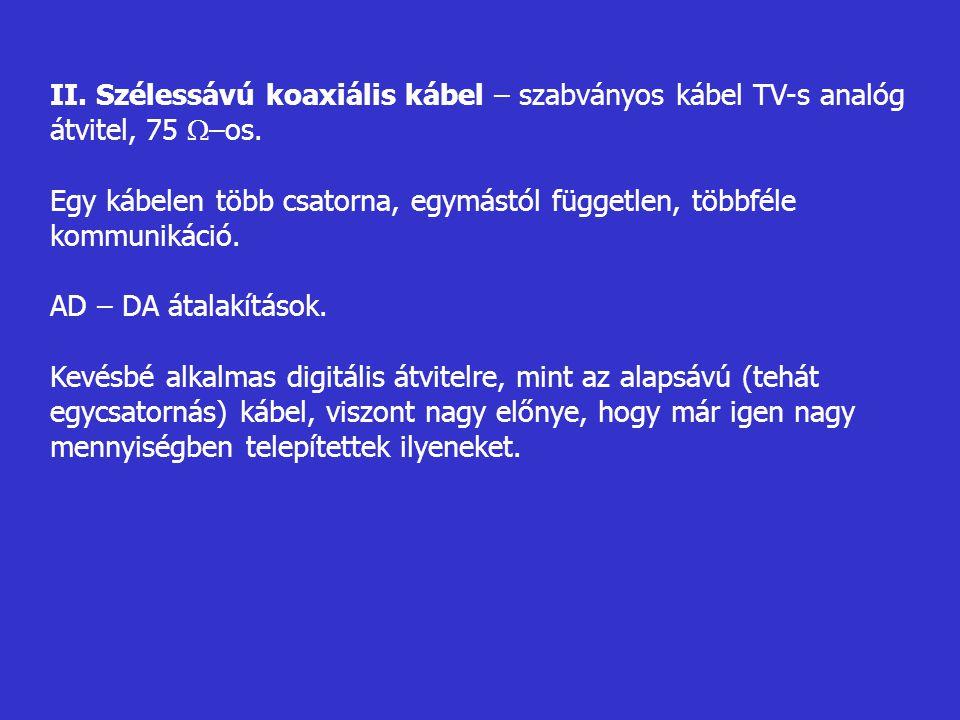 II. Szélessávú koaxiális kábel – szabványos kábel TV-s analóg átvitel, 75 –os.