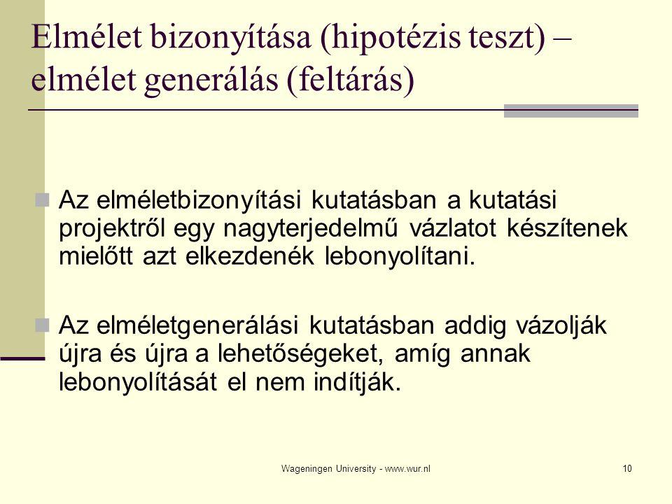 Elmélet bizonyítása (hipotézis teszt) – elmélet generálás (feltárás)