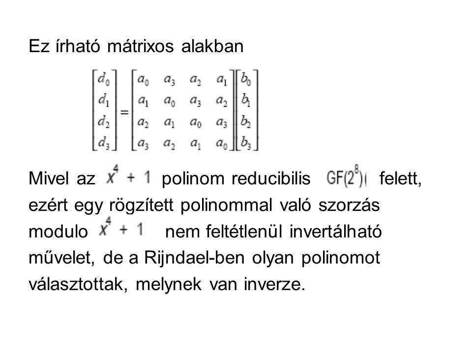 Ez írható mátrixos alakban