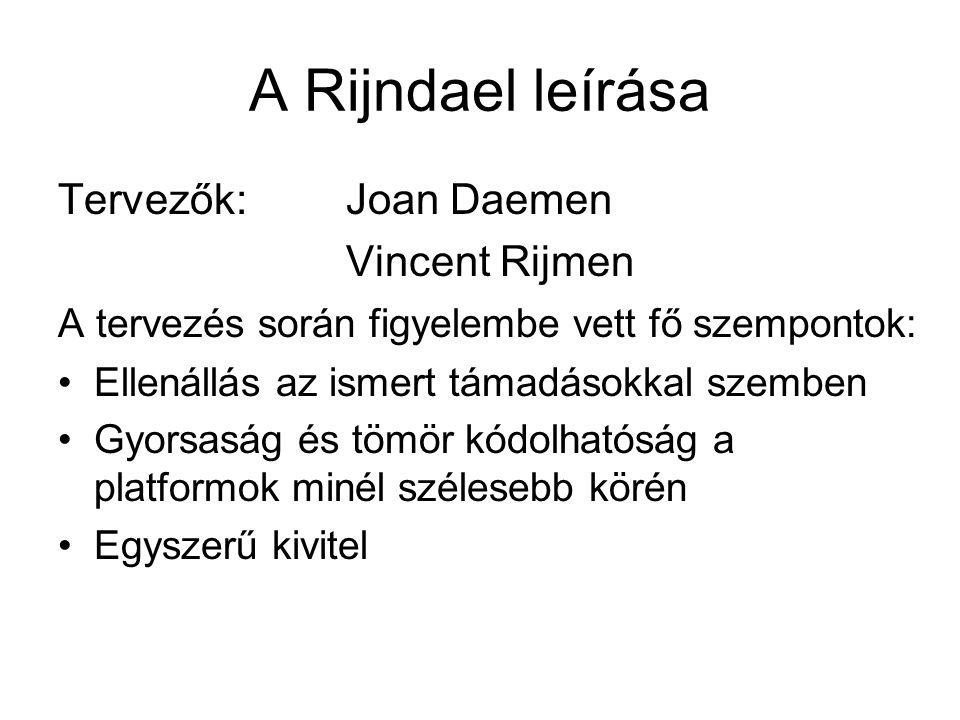 A Rijndael leírása Tervezők: Joan Daemen Vincent Rijmen