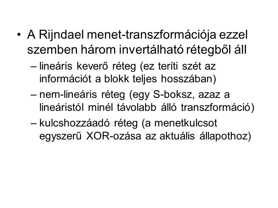 A Rijndael menet-transzformációja ezzel szemben három invertálható rétegből áll