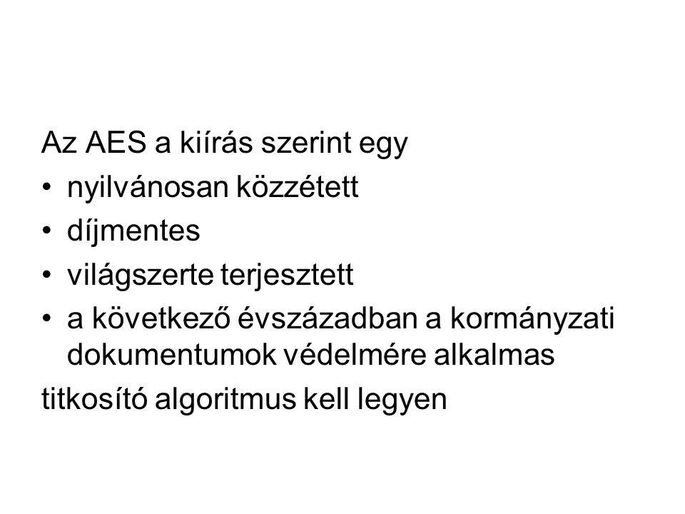 Az AES a kiírás szerint egy