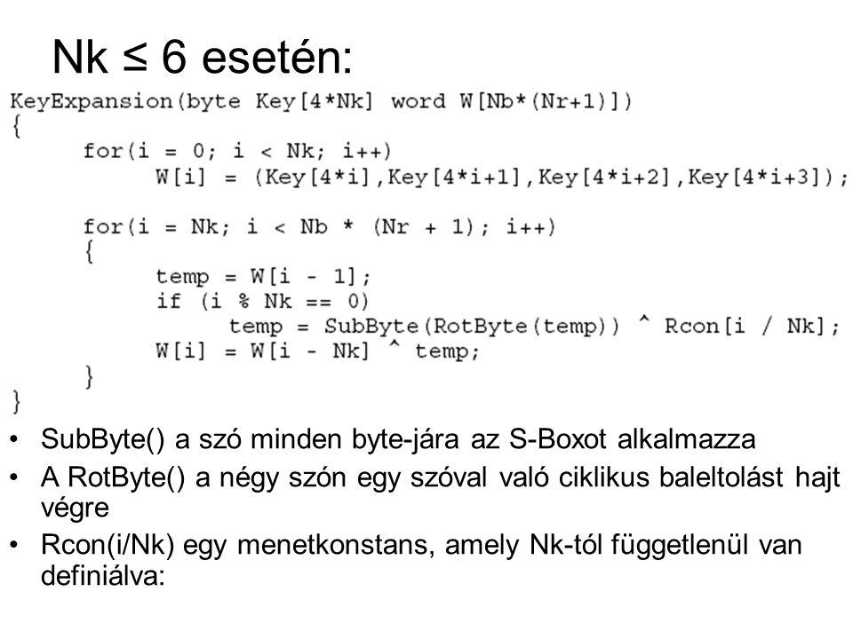 Nk ≤ 6 esetén: SubByte() a szó minden byte-jára az S-Boxot alkalmazza
