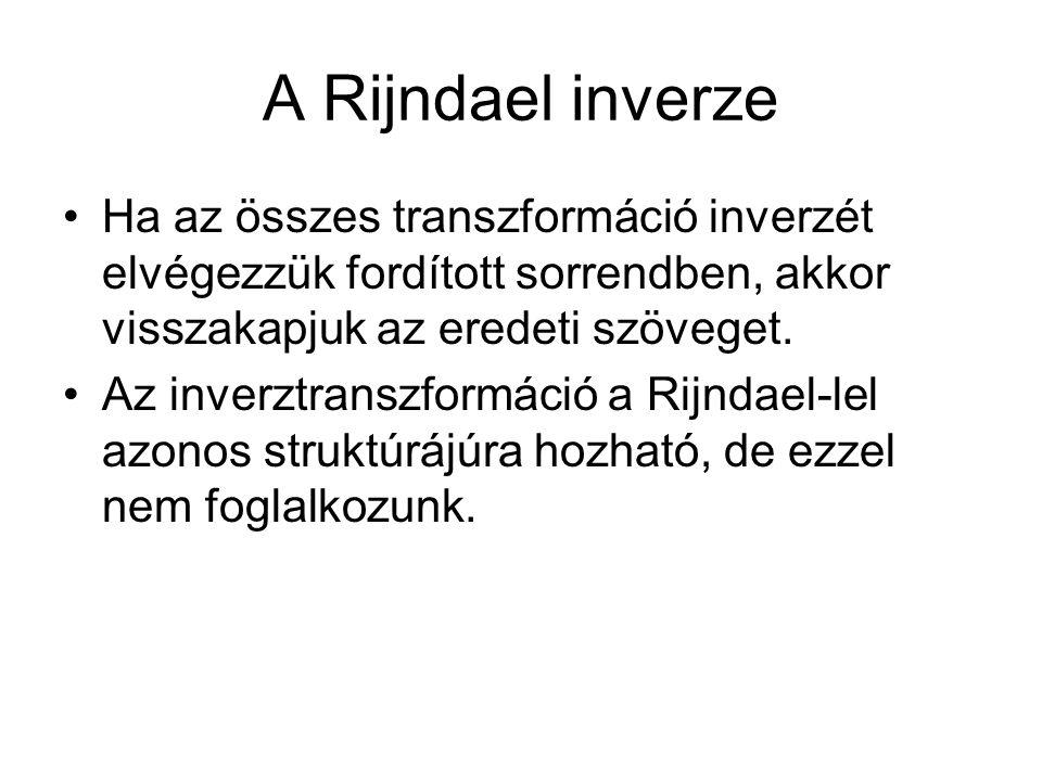 A Rijndael inverze Ha az összes transzformáció inverzét elvégezzük fordított sorrendben, akkor visszakapjuk az eredeti szöveget.