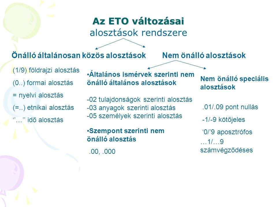 Az ETO változásai alosztások rendszere