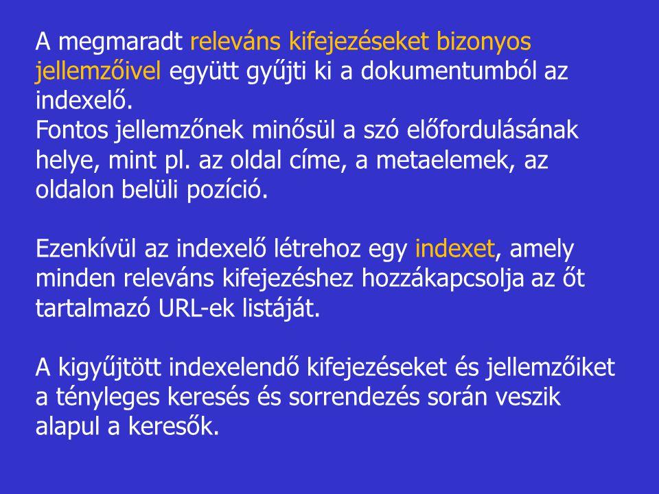 A megmaradt releváns kifejezéseket bizonyos jellemzőivel együtt gyűjti ki a dokumentumból az indexelő.