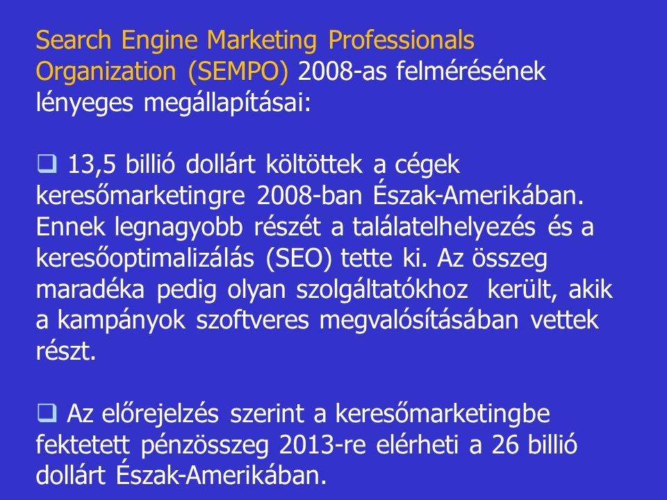 Search Engine Marketing Professionals Organization (SEMPO) 2008-as felmérésének lényeges megállapításai: