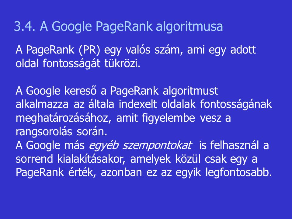 3.4. A Google PageRank algoritmusa