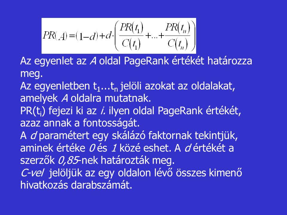 Az egyenlet az A oldal PageRank értékét határozza meg.
