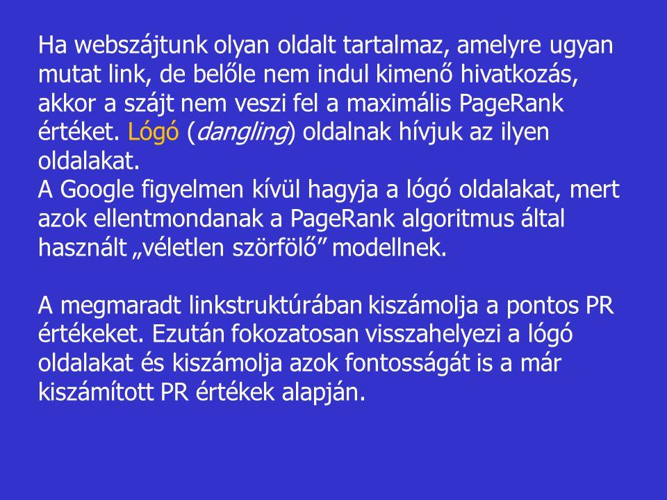Ha webszájtunk olyan oldalt tartalmaz, amelyre ugyan mutat link, de belőle nem indul kimenő hivatkozás, akkor a szájt nem veszi fel a maximális PageRank értéket. Lógó (dangling) oldalnak hívjuk az ilyen oldalakat.