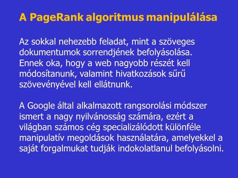 A PageRank algoritmus manipulálása