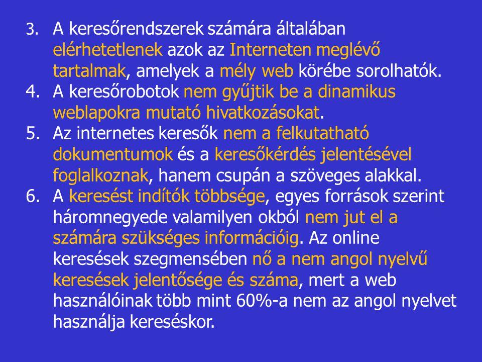 3. A keresőrendszerek számára általában elérhetetlenek azok az Interneten meglévő tartalmak, amelyek a mély web körébe sorolhatók.