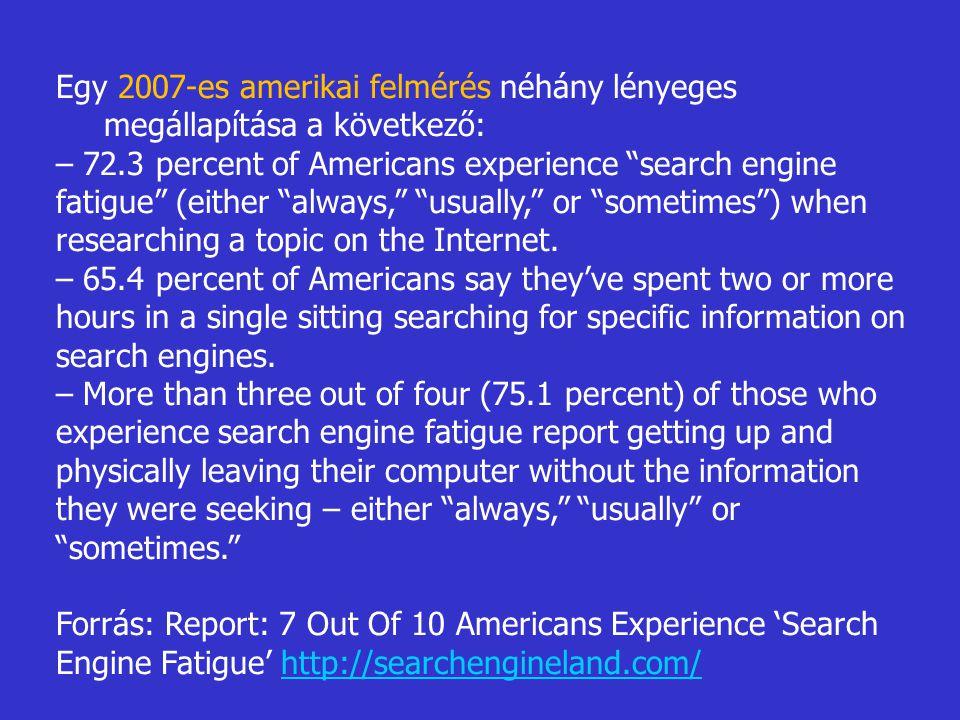 Egy 2007-es amerikai felmérés néhány lényeges megállapítása a következő: