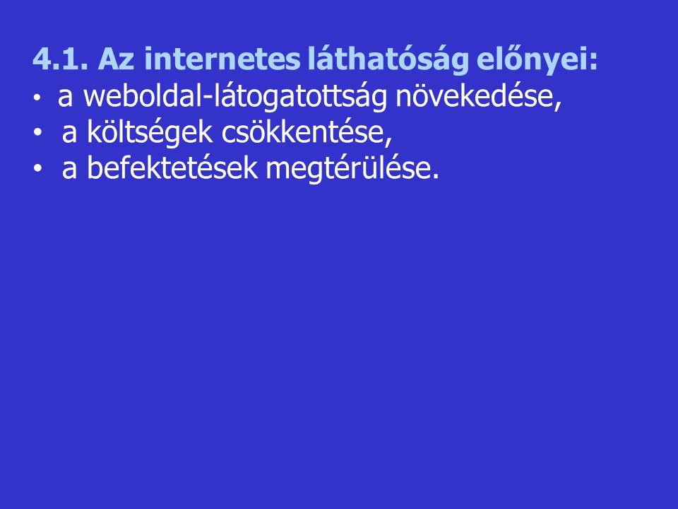 4.1. Az internetes láthatóság előnyei: a költségek csökkentése,