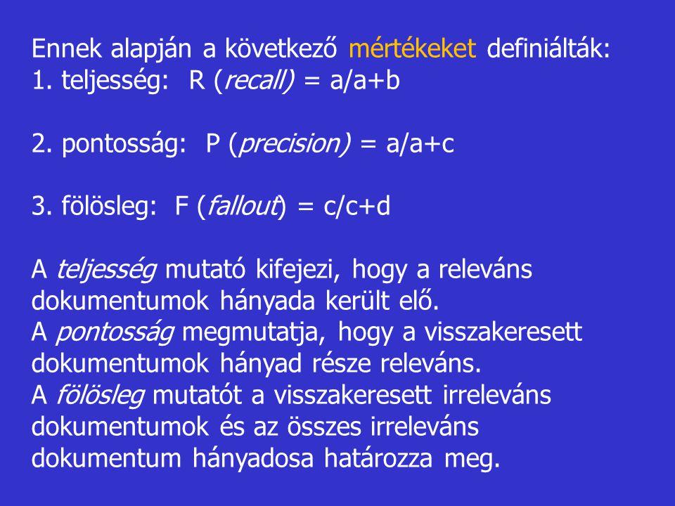 Ennek alapján a következő mértékeket definiálták: