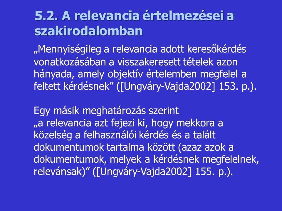 5.2. A relevancia értelmezései a szakirodalomban