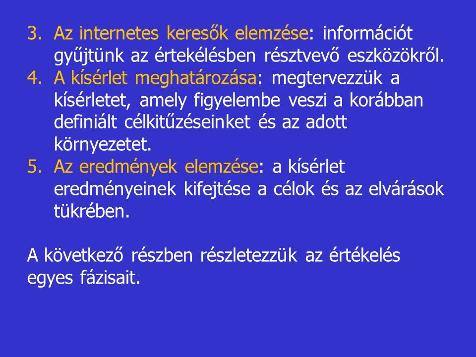 Az internetes keresők elemzése: információt gyűjtünk az értekélésben résztvevő eszközökről.