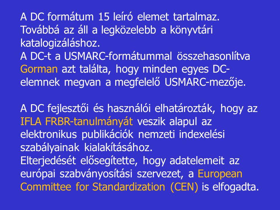 A DC formátum 15 leíró elemet tartalmaz