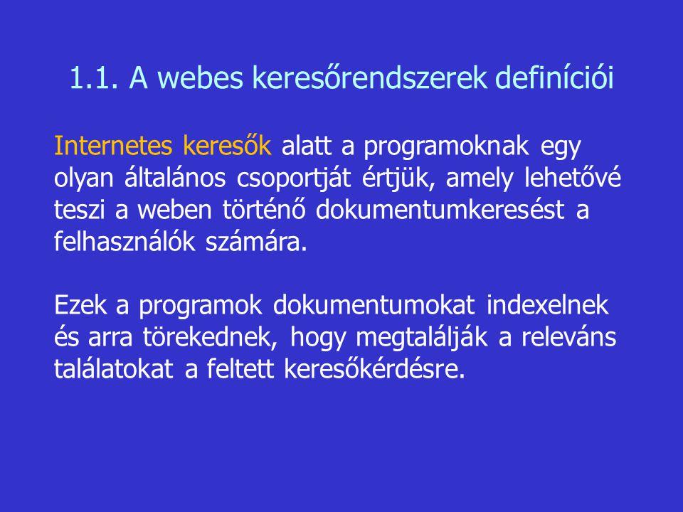 1.1. A webes keresőrendszerek definíciói