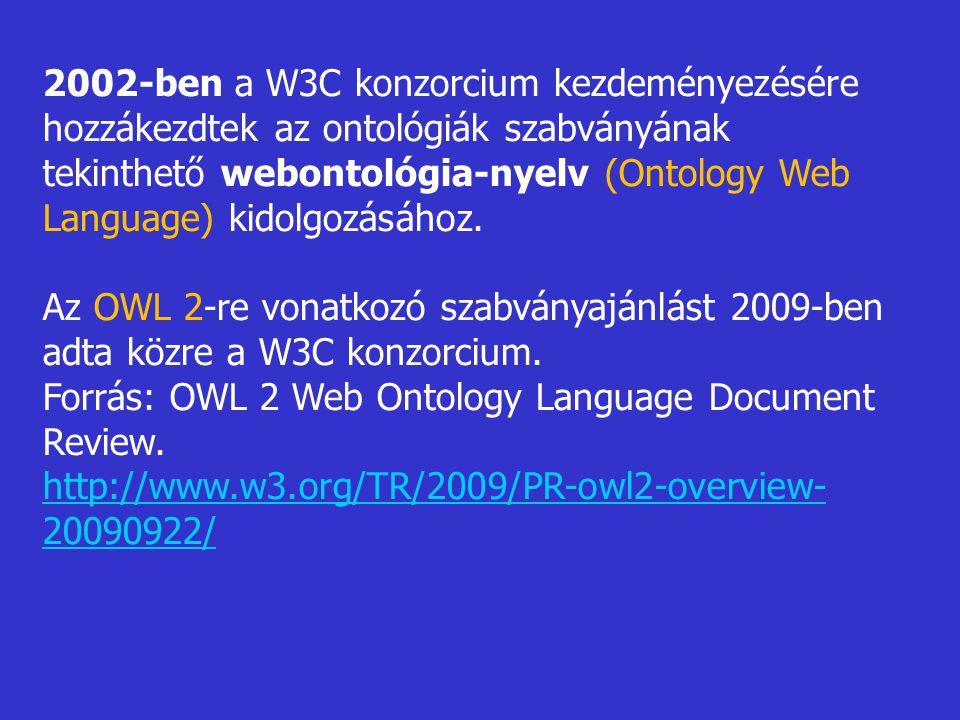 2002-ben a W3C konzorcium kezdeményezésére hozzákezdtek az ontológiák szabványának tekinthető webontológia-nyelv (Ontology Web Language) kidolgozásához.