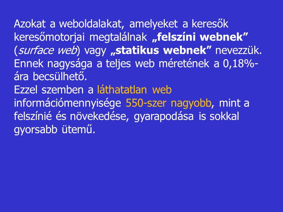 """Azokat a weboldalakat, amelyeket a keresők keresőmotorjai megtalálnak """"felszíni webnek (surface web) vagy """"statikus webnek nevezzük."""