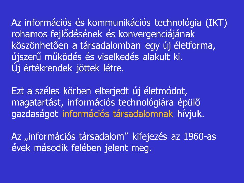 Az információs és kommunikációs technológia (IKT) rohamos fejlődésének és konvergenciájának köszönhetően a társadalomban egy új életforma, újszerű működés és viselkedés alakult ki.