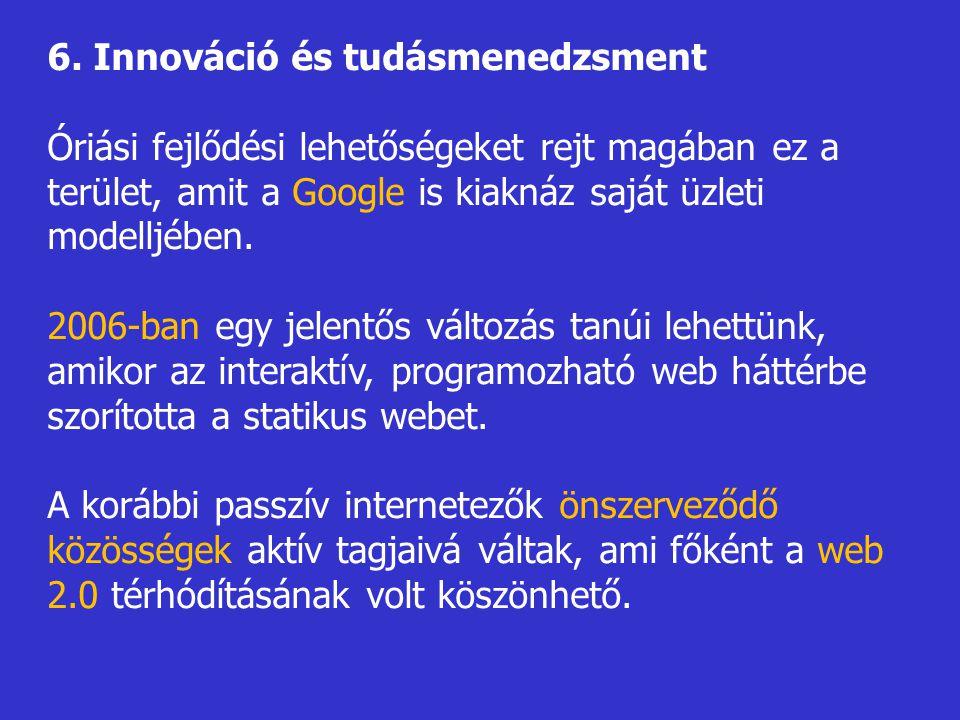 6. Innováció és tudásmenedzsment