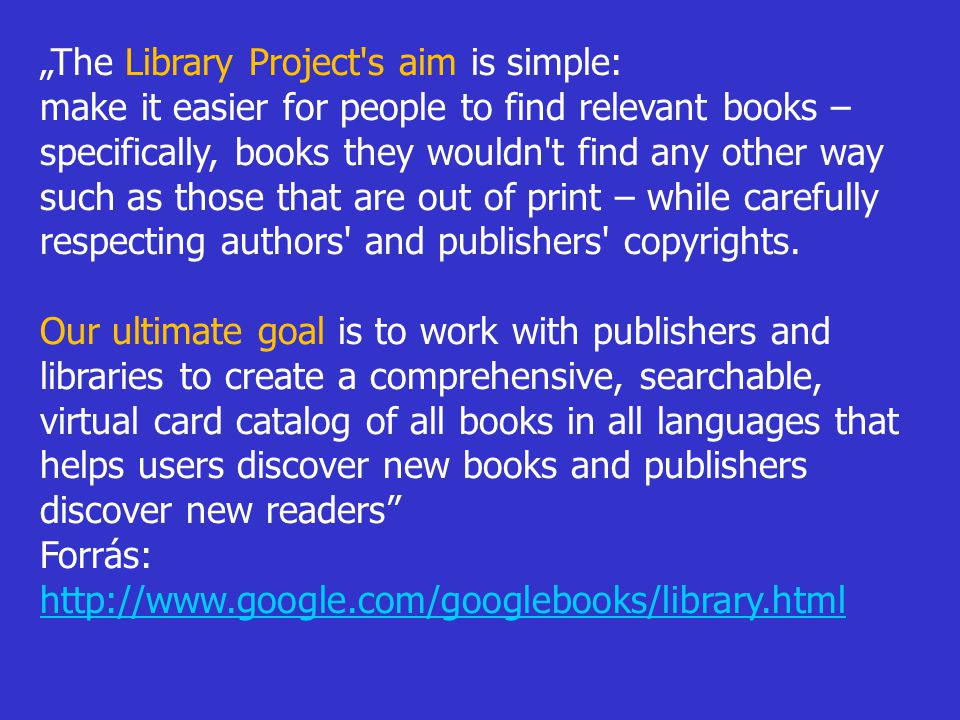"""The Library Project s aim is simple:"