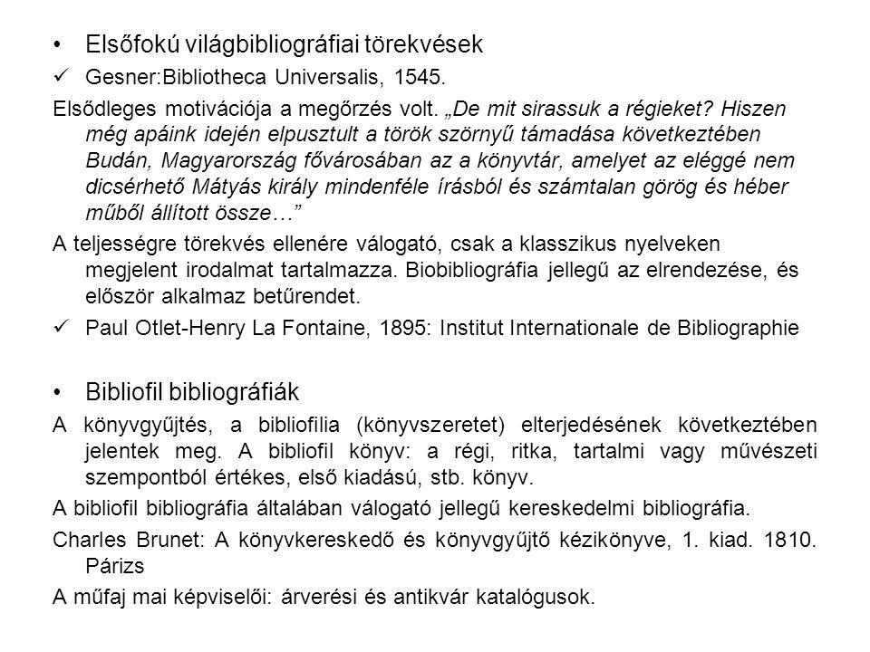 Elsőfokú világbibliográfiai törekvések