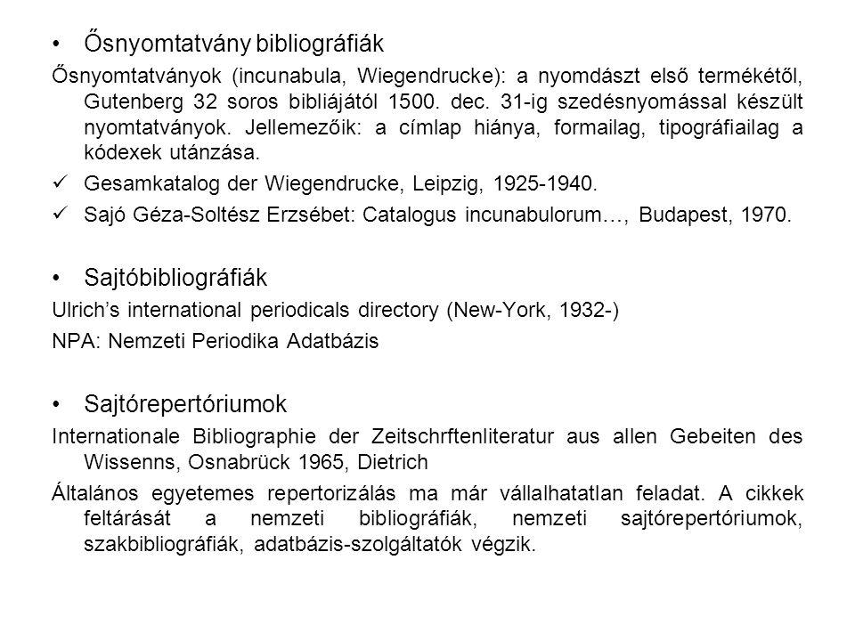 Ősnyomtatvány bibliográfiák