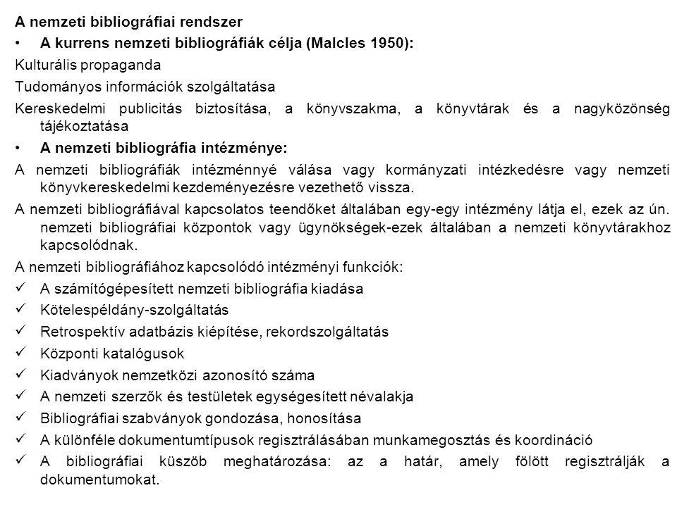 A nemzeti bibliográfiai rendszer