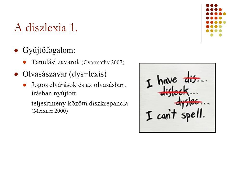 A diszlexia 1. Gyűjtőfogalom: Olvasászavar (dys+lexis)