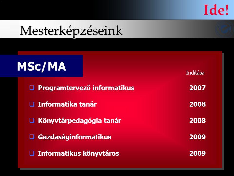 Ide! Mesterképzéseink MSc/MA Programtervező informatikus 2007