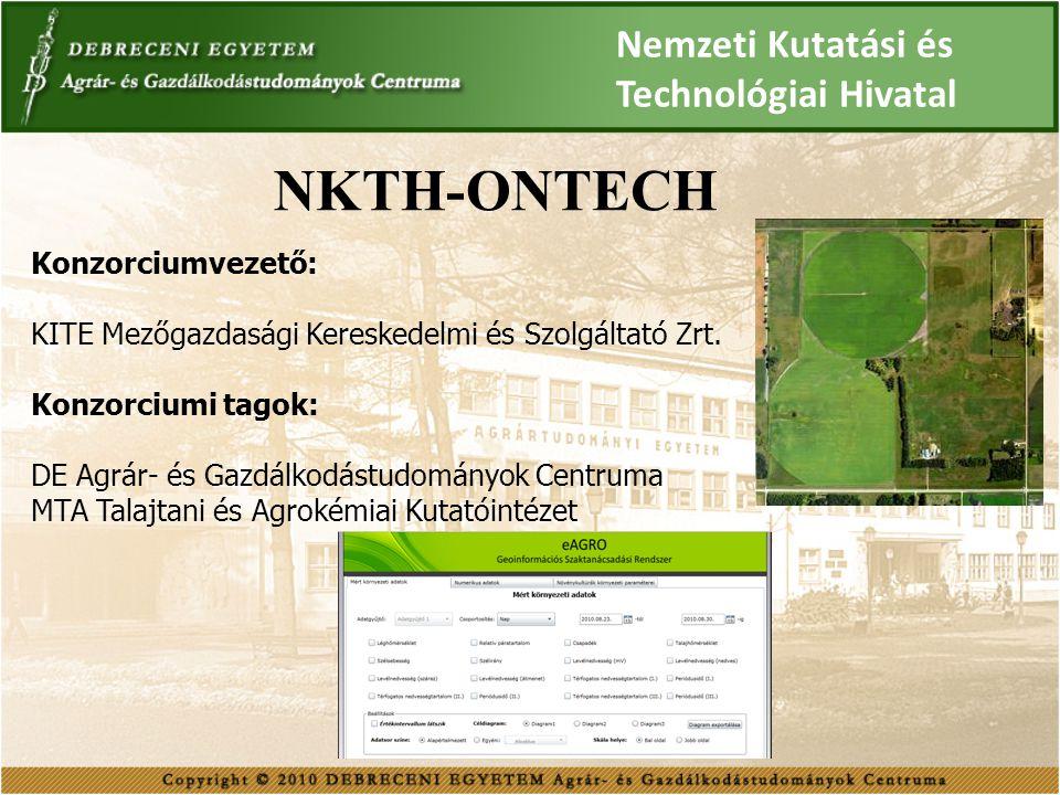 NKTH-ONTECH Nemzeti Kutatási és Technológiai Hivatal Konzorciumvezető: