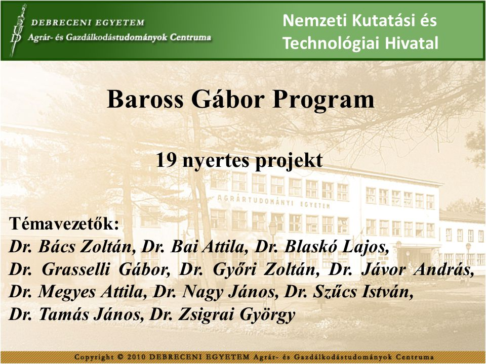 Baross Gábor Program 19 nyertes projekt