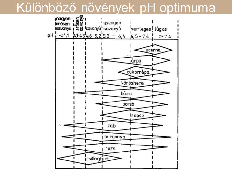 Különböző növények pH optimuma