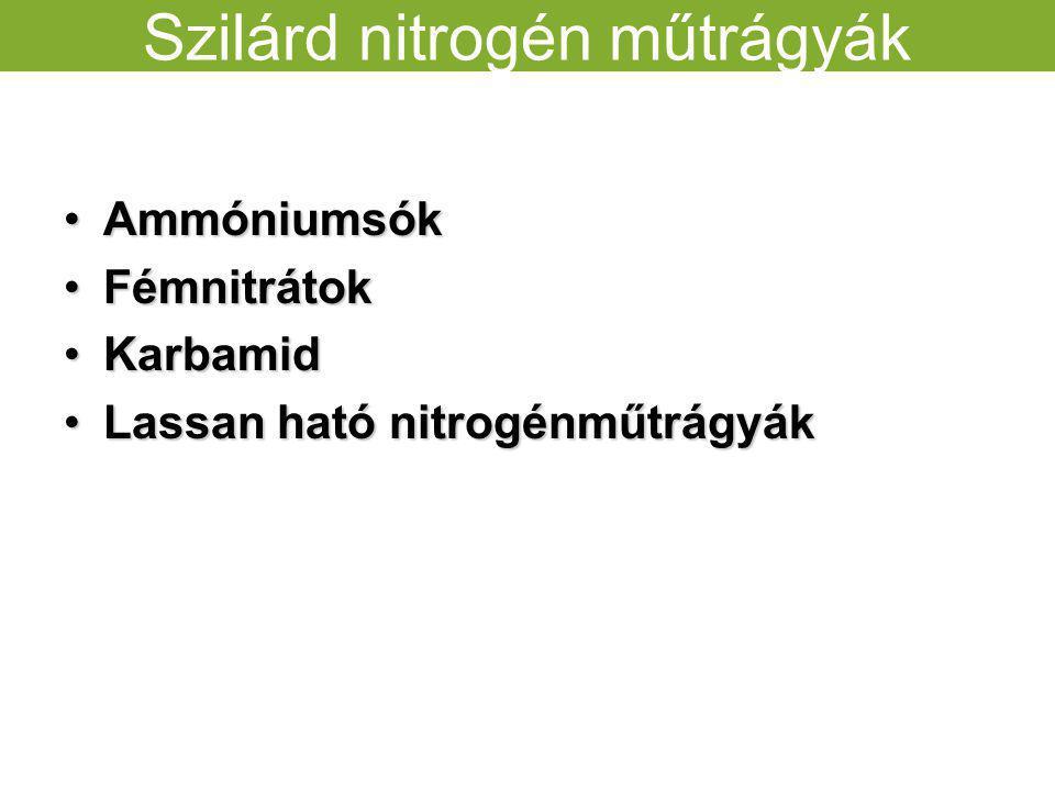 Szilárd nitrogén műtrágyák