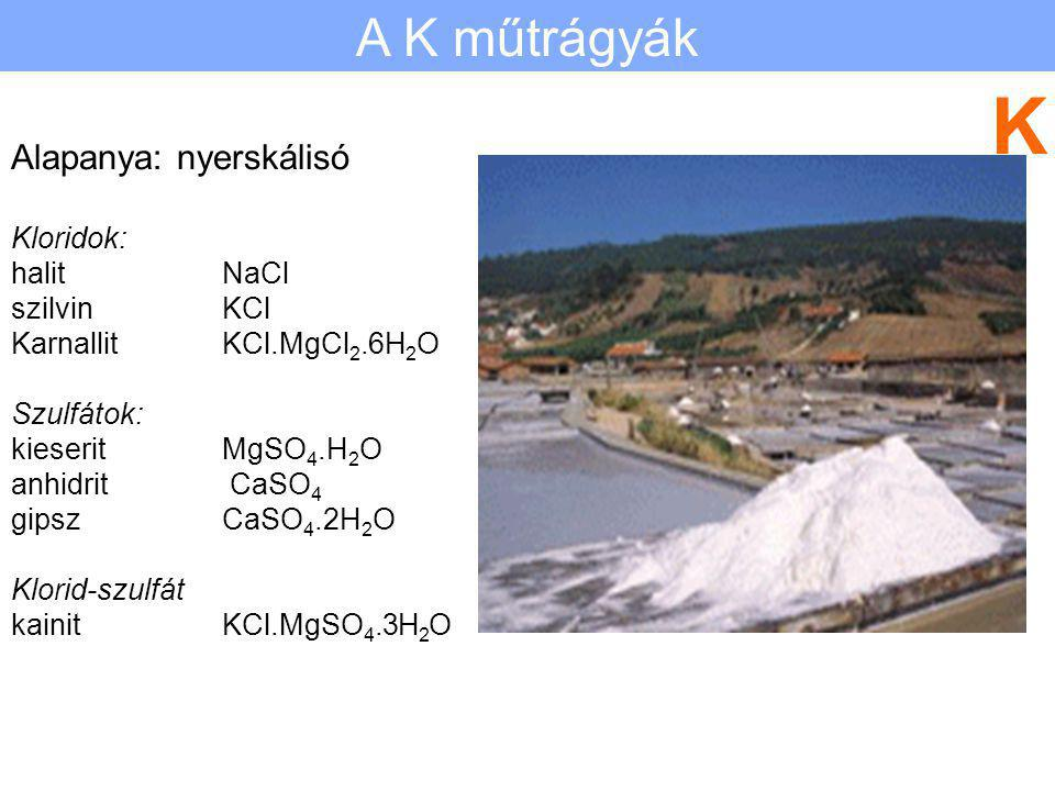 K A K műtrágyák Alapanya: nyerskálisó Kloridok: halit NaCl szilvin KCl