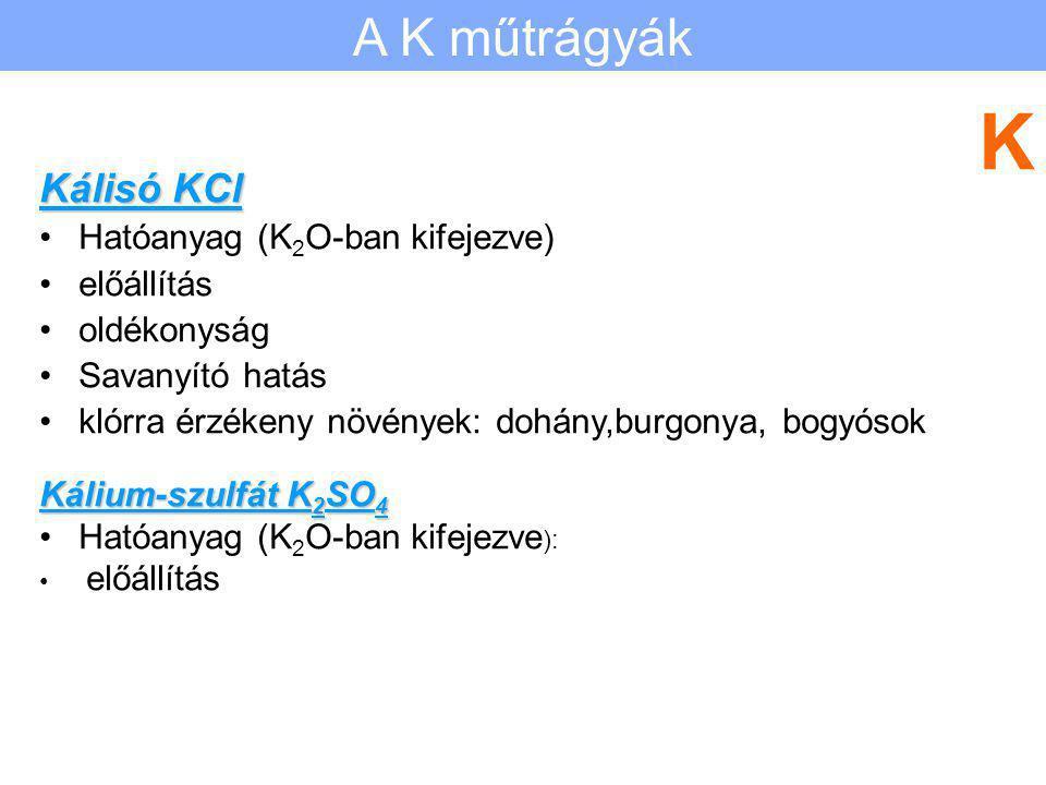 K A K műtrágyák Kálisó KCl Hatóanyag (K2O-ban kifejezve) előállítás